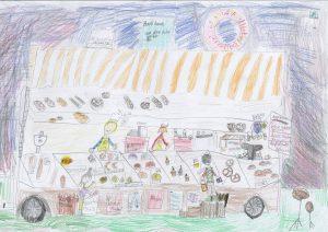 Grundschule Adoph-Schönfelder Schule, gemalt von Fiona und Amelie